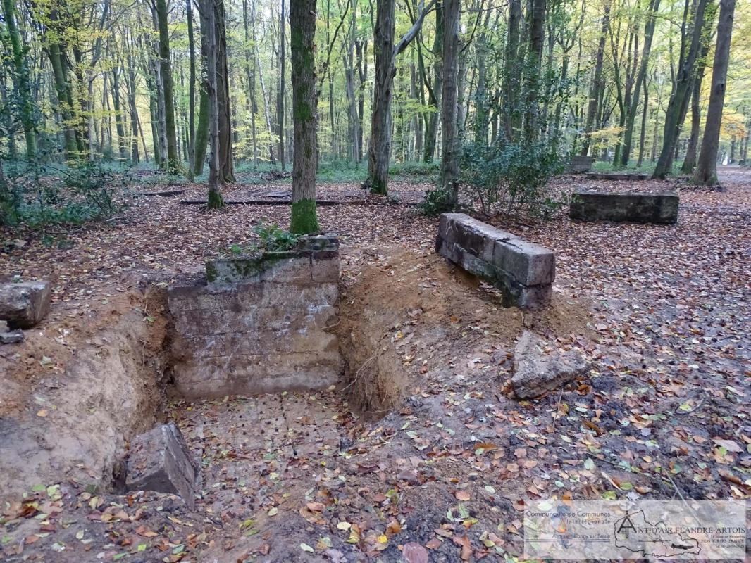 In the foreground are the remains of the firing bunker, in the background on the right we can see a water tank and on the left the launching ramp