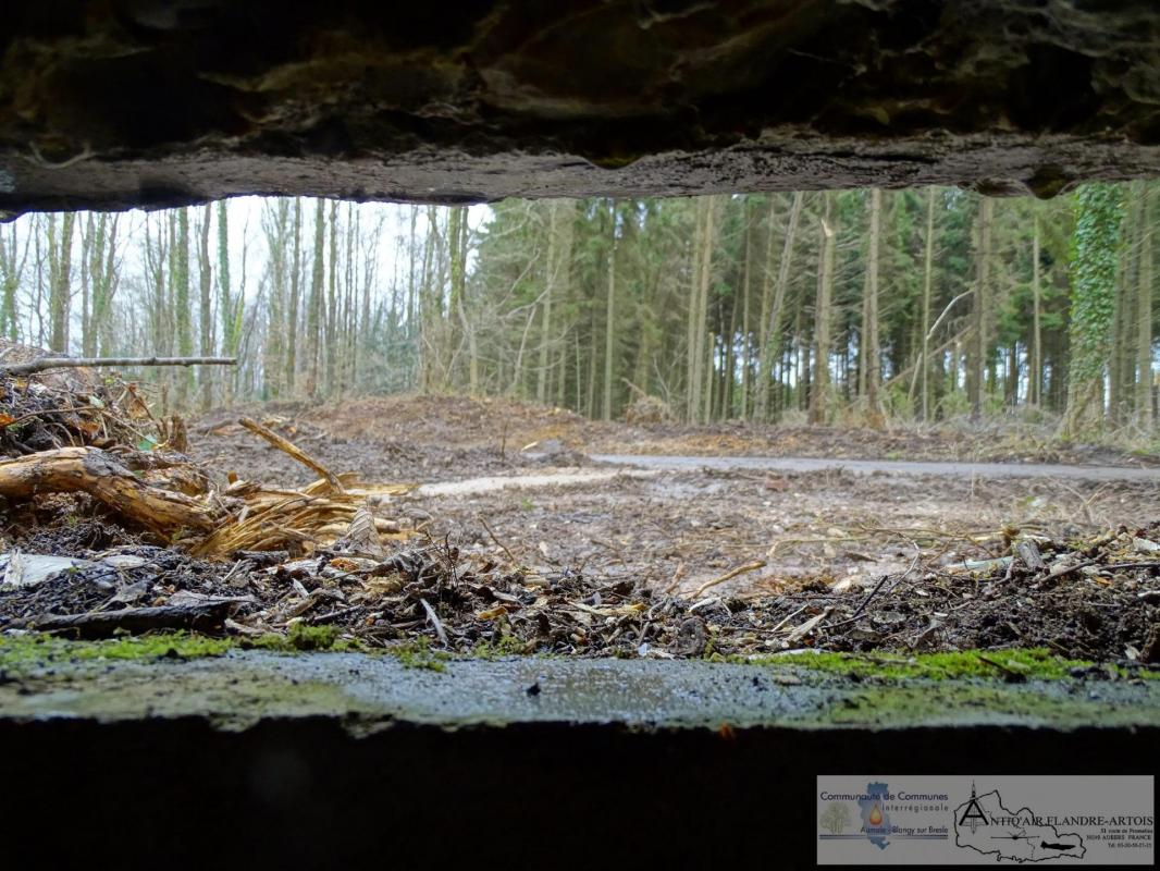 View from the embrasure of the firing bunker, in the background the launching ramp